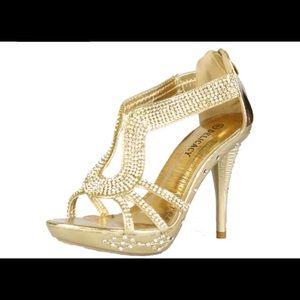 Gold women's dress shoes